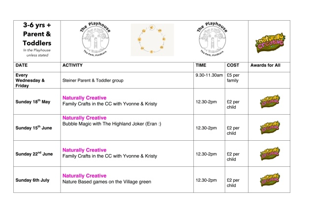 Naturally Creative - Family & Young Children sessions May-July 2014